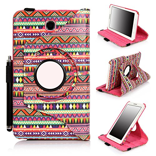 Galaxy Tab 4 7 inch case, E LV Galaxy Tab 4 7 Case Cover - Full Body Protection (Rotating Stand) PU Leather Case Cover Shell for Samsung Galaxy Tab 4 7 inch (2014) with 1 Stylus [ONLY COMPATIABLE WITH SAMSUNG GALAXY TAB 4 7.0 INCH (2014)]