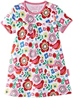 Toby Tiger Girls Organic Cotton Multi Bird Printed Short Sleeved Floral Dress