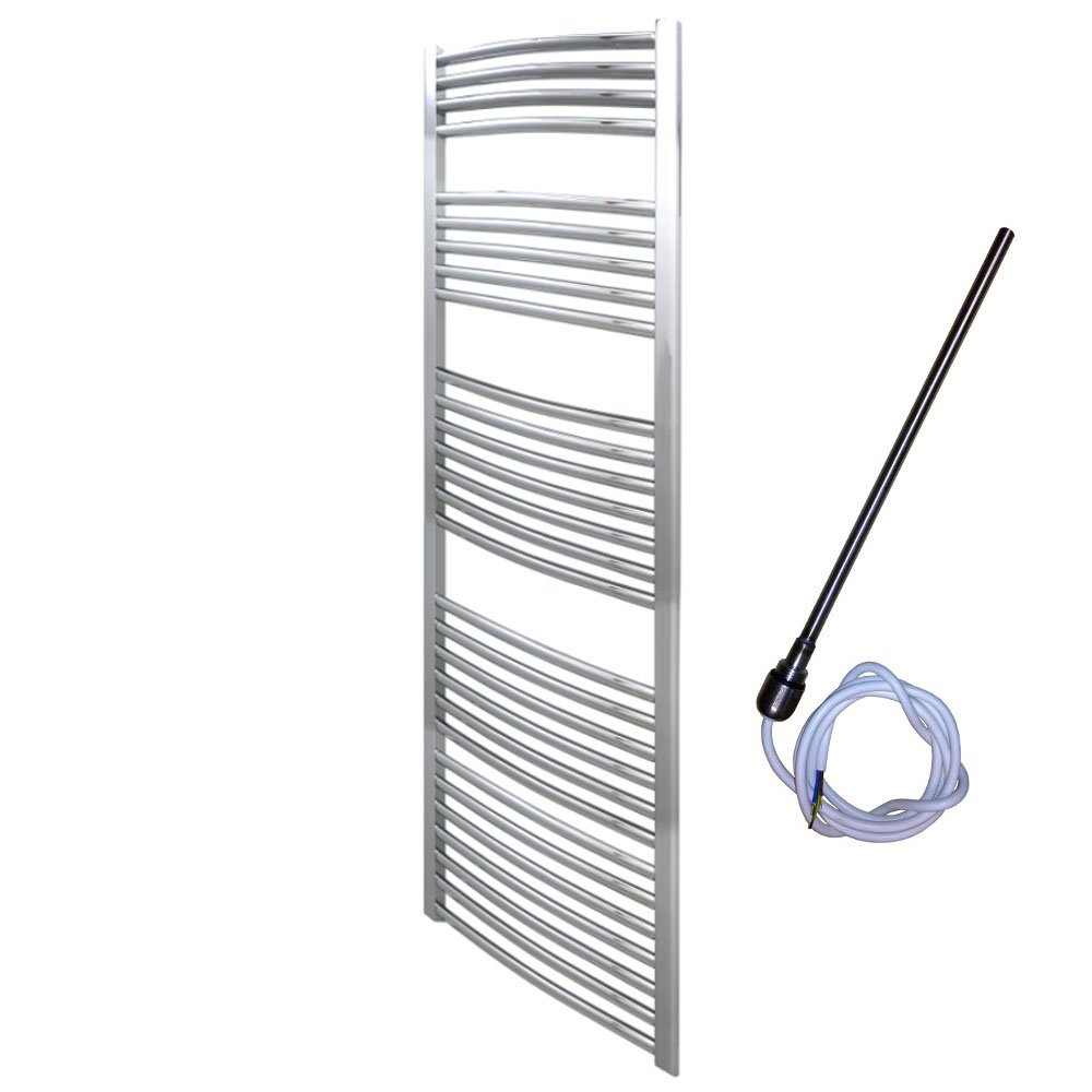 600 x 1500 mm Curved Chrome Electric Heated Towel Rail       Customer review and more information