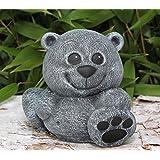 Steinfigur Teddybär klein Steinguss Schiefergrau