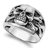 Men's Biker Skull Crossbones Polished Ring .925 Sterling Silver Band Size 8