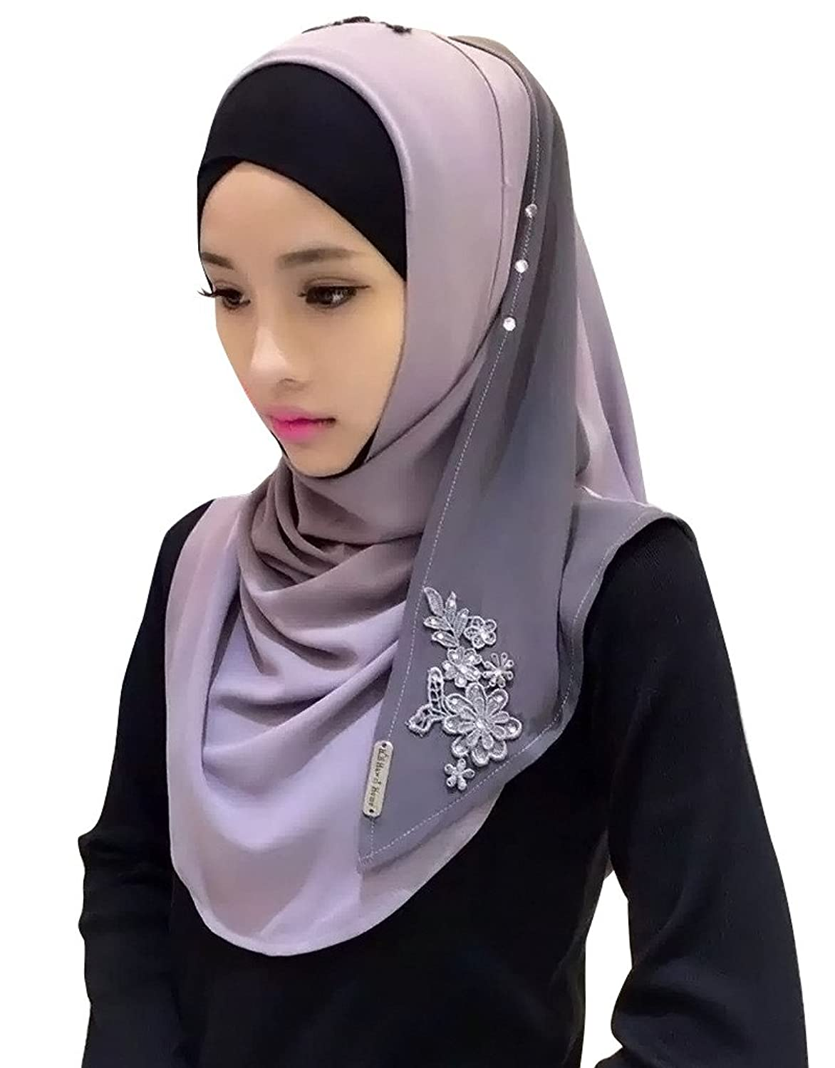Ababalaya Womens' Chiffion Fashion Color Block Hijab Scarf Shawl