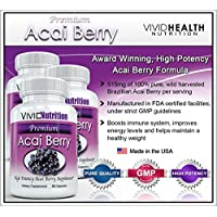 PREMIUM ACAI (3 Bottles) - High Potency, Pure Acai Berry - All-Natural Weight Loss, Colon Cleanse, Detox, Antioxidant Superfood Supplement. 515mg - (30 Capsules per Bottle)