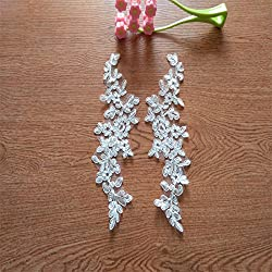 10PC New design golden blue lace wedding dress applique DIY bridal headdress lace collar lace (White)