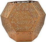 NI Décor Metal Hexa Votive Candle Holder - 9 cm x 9 cm x 8 cm, Beige