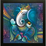 SAF Ganesh Painting    Ganesha Painting    Ganesh Poster    Ganesh Wall Stickers    SAF Exclusive Framed Wall Art Paintings For Living Room And Bedroom. Frame Size (12 Inch X 12 Inch, (Wood, 30 Cm X 3 Cm X 30 Cm, Special Effect Textured)