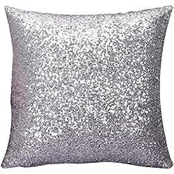 Longra Normallack Glitter Pailletten Dekokissen Fall Cafe Kissenbezug 40*40cm (Silber)