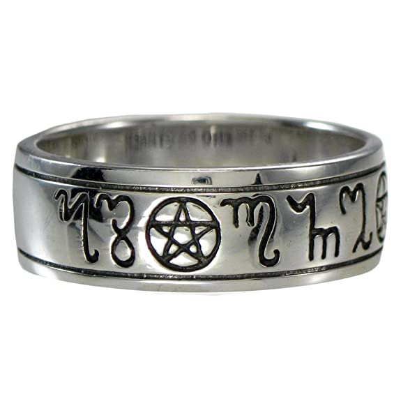 Sterling Silver Handfasting Theban Pentacle Wedding Ring (sz 4-15)
