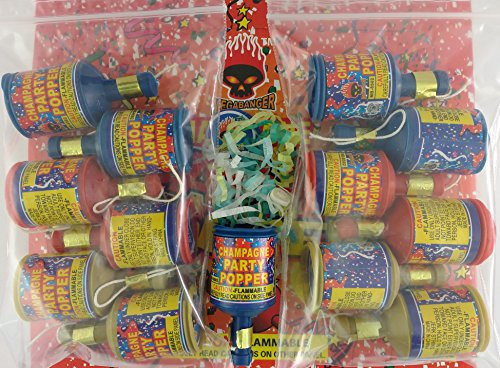 PARTY POPPERS Birthdays Weddings Celebrations Loot Bags 12 Ct (2 Pk w 6 Pc/Pk) (New Years Eve Confetti Poppers compare prices)
