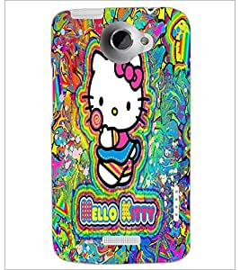 PrintDhaba Kitty D-5552 Back Case Cover for HTC ONE X (Multi-Coloured)