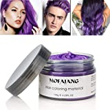 Hair Coloring Dye Wax, Purple Instant Hair Wax, Temporary Hairstyle Cream 4.23 oz, Hair Pomades, Natural Hairstyle Wax for Men and Women Party Cosplay