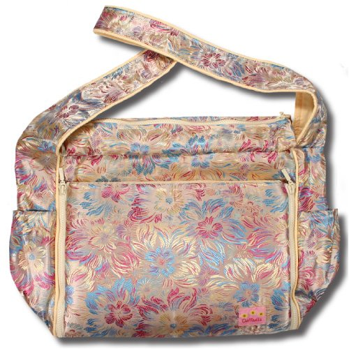 Gold Flowers Silk Boutique Diaper Bag front-290845