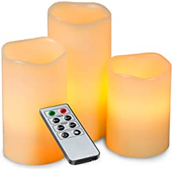 Kohree 3-Piece Melted Edge Ivory Real Wax Flameless LED Candles
