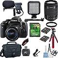 Canon EOS Digital Rebel T6i 24.2MP Digital SLR DSLR Camera + 18-55mm IS STM Lens + Shotgun Microphone Bundle + 32GB Memory Card + LED Light Kit + Card Reader + Canon Case + Flexible Tripod Bundle