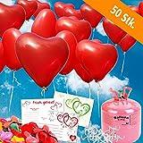 50 rote HELIUM Herzluftballons Hochzeit - KOMPLETTSET aus roten HERZ Heliumballons, Helium Einwegflasche, Ballonkarten GELOCHT und Ballonschnur zum Luftballons steigen lassen zur Hochzeit - Hochzeitsspiele und Partyspiele
