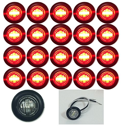 """20 New 3/4"""" Clear/Red Led Clearance Marker Bullet Marker Lights Good For Trailer Truck Etc With Black Trim Ring"""