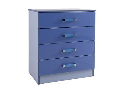 Ottawa Caspio cómoda de 4 cajones dos tonos azul brillante