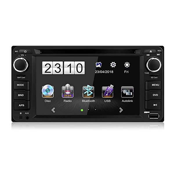 1080P HD LCD Monitor Bluetooth 6.2 inch Audio Radio Receiver,8GB GPS Navigator Double Din Car Stereo Multimedia Player for Toyota Support Screen Link,AM//FM//DVD//SWC /& Free CAM