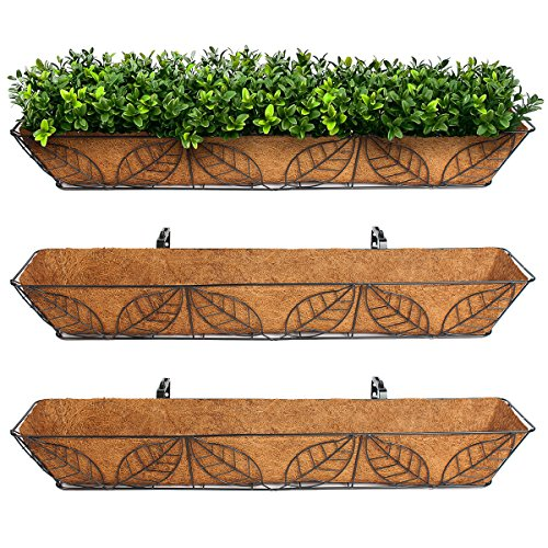 3pk Arcadia Coco Fiber Lined Wall Trough Wire Metal Leaf Basket Planter Plant Flower (Wire Wall Planter compare prices)