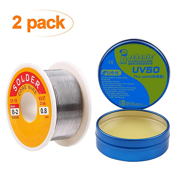 Crazepony 63-37 Tin Lead Rosin Core Solder Wire(0.8mm 100g) and Solder Paste Flux(50g) for Electrical Solderding and DIY (Color: Blue)