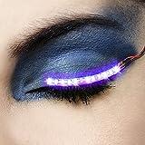 LED Eyelashes Light, 7 Modes Unisex Flashes Interactive Changing LED False Lashes Shining Eyeliner, Perfect for Party Bar NightClub Concerts Birthday Gift (Purple)