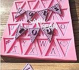 シュガークラフト ( フォンダンモールド ) お菓子 アイシング 手作り ケーキ 繊細 な ハンドメイド デコ レースパーツ (04 三角フラッグ文字)