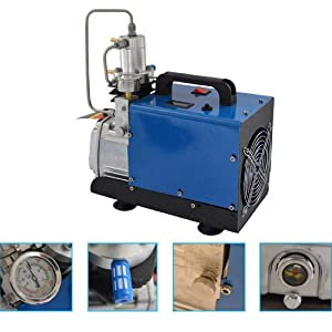 Tinsay High Pressure 30Mpa Electric air Pump Air Compressor Pump High Pressure System Rifle Inflator PCP Rifle Airgun Scuba Air Pump Portable Air Compressors 110V (Color: Blue)