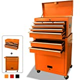 Rolling Tool Box 2 in 1 Versatile Tool Chest with 8 Drawers and 4 Wheels, Lockable Tool Cabinet Sturdy Tool Storage Box for Garage and Workshop,Orange (Color: Orange)