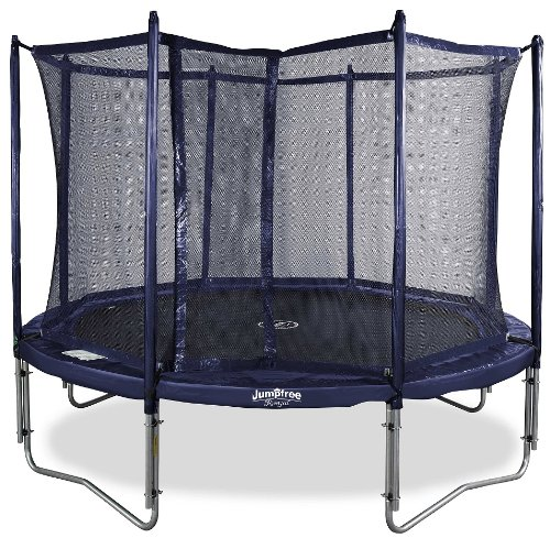 spring fun kinder trampolin mit sicherheitsnetz jumpfree blau 430 cm a0002 trampolin. Black Bedroom Furniture Sets. Home Design Ideas
