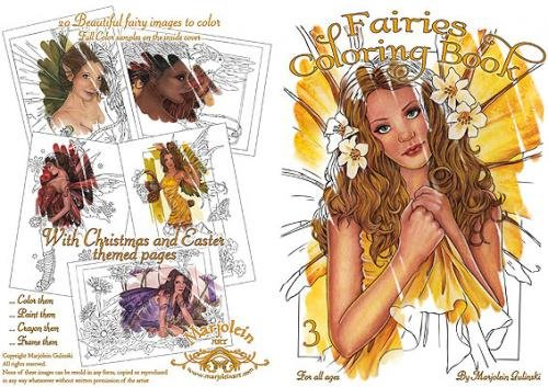 Marjolein Gulinski Fairies Coloring Book #3 Yellow - 1