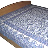 White and Purple Bedsheet Cotton Block Printed in Queen Sizeby DakshCraft