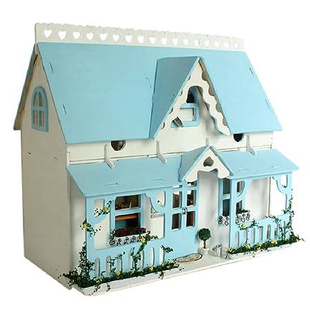 Samber DIY Maison de Poupée Miniature Maison à Construire Boîte à Musique Commande Vocale DIY Jeux Décoration de Fête Meilleur Cadeau