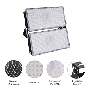 Viugreum 6 Pack 200W LED Flood Light, Waterproof IP65 Outdoor Floodlights, 18000LM Daylight White(6000-6500K) Security Lights Landscape Spotlights Wall Garden Lighting, Fast Shipping from USA (Color: 6 Pack, Tamaño: 200W,Cold White)