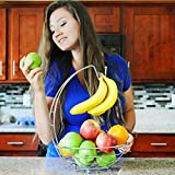 Fruit Basket w/ Removable Banana Hanger & Citrus Fruit Peeler, Discover this New Fruit Bowl and Peeler Bundle Now - Incredible Quality & Value - Elegant Chrome Finish!
