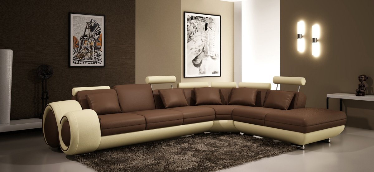 4086 Modern Leather Sectional Sofa with Recliners