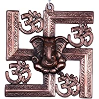 BRK Handicraft Metal Ganesha On Swastik With Om -Wall Hanging Of Lord Ganesh Showpiece, Home Decor