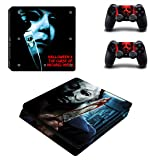 Decal Moments PS4 Slim Console Skin Set Vinyl Decal Sticker for Playstation 4 Slim Console Dualshock 2 Controllers-Halloween Horror (PS4 Slim Only)