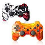 PS3 Controller Wireless SIXAXIS Double Shock Gamepad for Playstation 3 Remote, 2 Pack with PS3 Controller Charger Cable (Canyon+Graffiti) (Color: Canyon+Graffiti)
