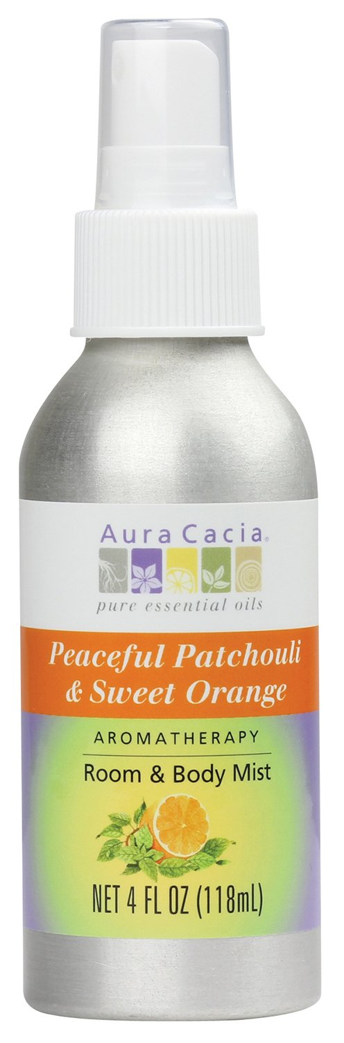 Aura Cacia Room and Body Mist, Peaceful Patchouli and Sweet Orange, 4 Fluid Ounce