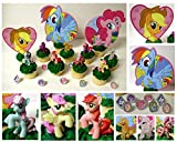 MY LITTLE PONY 14 Piece Birthday CUPCAKE Topper Set Featuring 8 Random My Little Pony Figures and Themed Decorative Accessories, Figures Average 1 to 2 Inches Tall