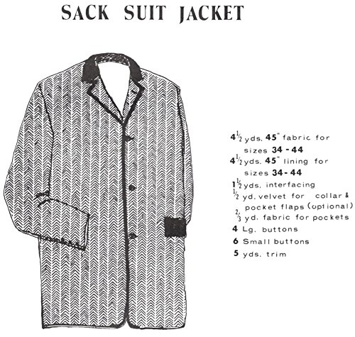 "Men's Sack Suit Jacket Pattern - Size Small (34-38"")"