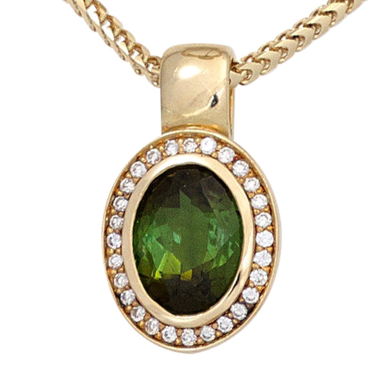 Damen Gold Anhänger 585 Gold Gelbgold 1 Turmalin grün 28 Diamanten Brillanten 0,11ct. online bestellen