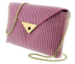 HS1181 RA TIA Pink Leather Clutch/Shoulder Bag