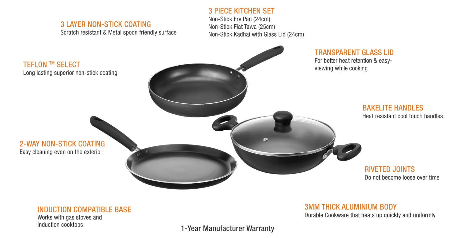 Uncategorized Non Stick Kitchen Appliances buy solimo non stick 3 piece kitchen set induction gas compatible online at low prices in india amazon in