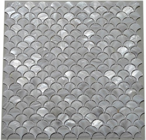 11PCS White Fish Scale Freshwater Shell Mosaic Tile Mother of Pearl Kitchen Backspalsh Tile Bathroom Tile Shower Wall Tiles TV Background Tile Home Improvement Fan Pattern (Mosaic Fish compare prices)
