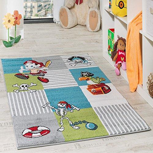 Kinder Teppich Pirat mit Papagei Schatzkiste Kinderzimmer Karo Grün Creme Türkis, Grösse:80x150 cm