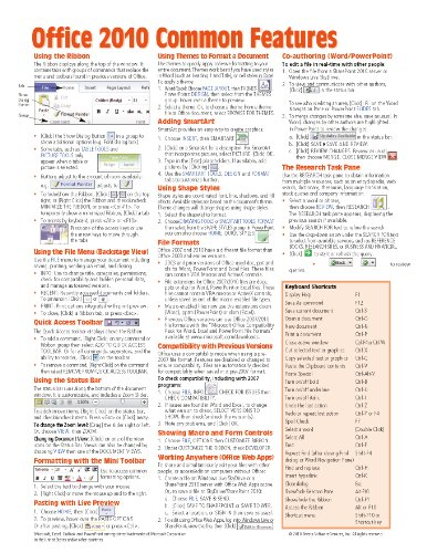 office 2010 common features quick reference guide cheat