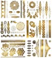 Premium Metallic Henna Tattoos - 75+ Mandala Boho Designs in Gold & Silver - Temporary Fake Shimmer Jewelry Tattoo - Flowers, Elephants, Bracelets, Wrist & Arm Bands, & More (Jasmine Collection)