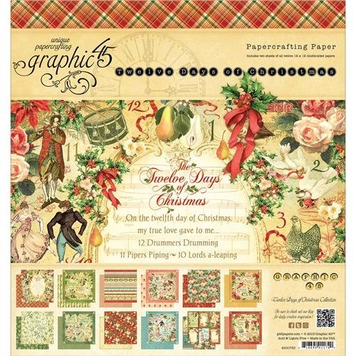 Graphic 45 12 Days of Christmas Pad, 8 by 8-Inch