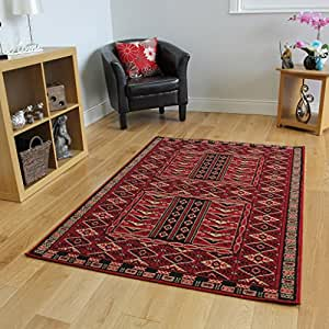Dark red classic vintage living room rug 4 sizes for Living room rugs amazon